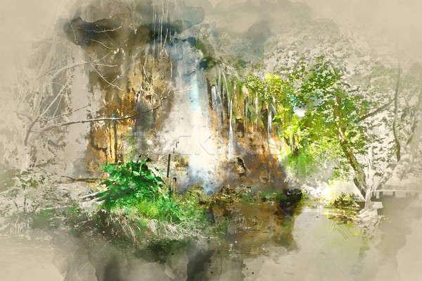 Digital watercolor painting of a beautiful waterfall Stock photo © amok