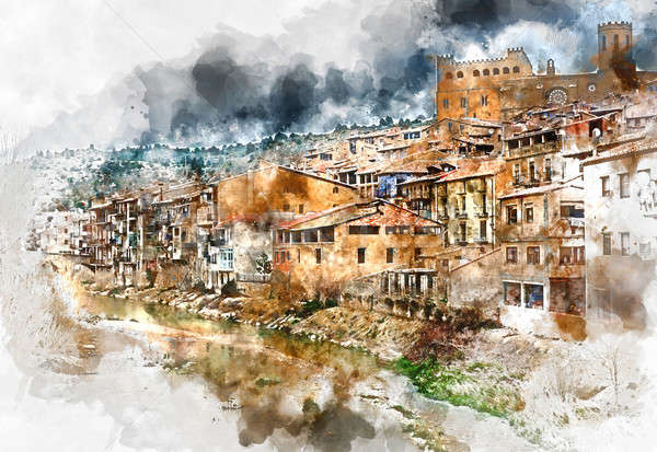 Digital watercolor painting of Valderrobres village, known as one of the most beautiful village in S Stock photo © amok
