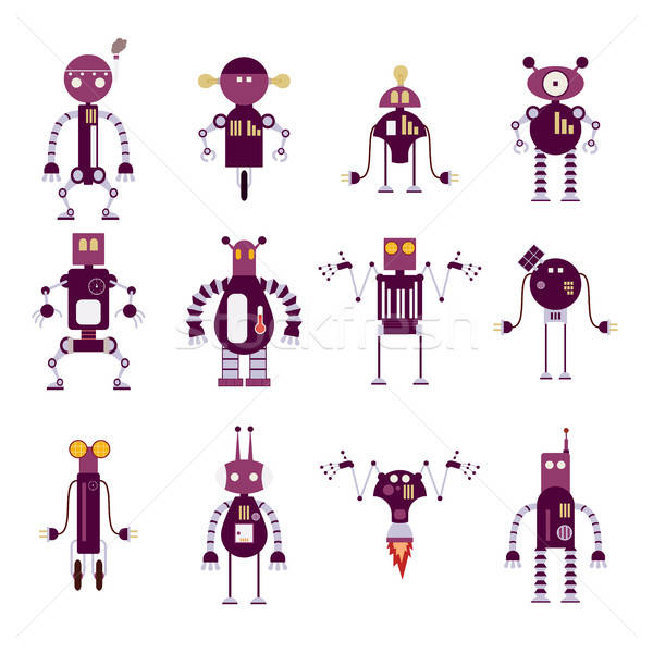 Collection of purple robot icons Stock photo © Amplion
