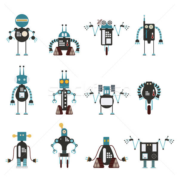 Collection of cyan robot icons Stock photo © Amplion