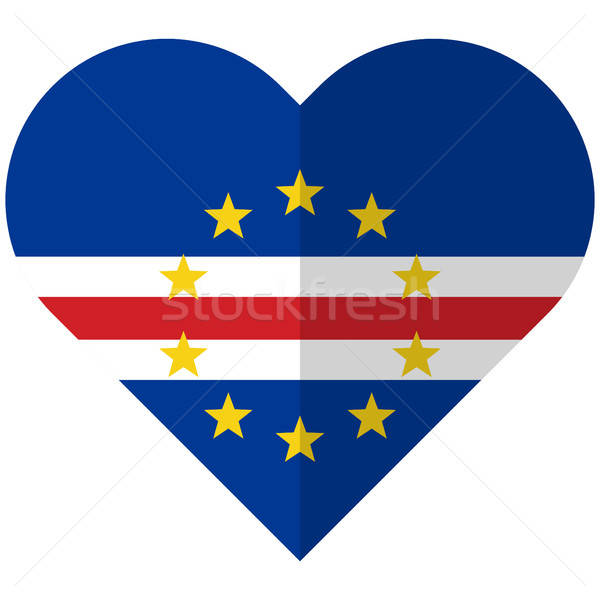 Cape Verde flat heart flag Stock photo © Amplion