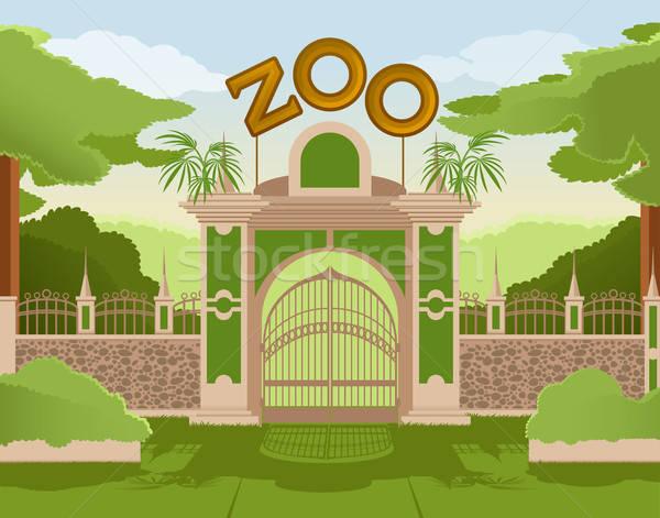 Hayvanat bahçesi kapı vektör görüntü çim sokak Stok fotoğraf © Amplion