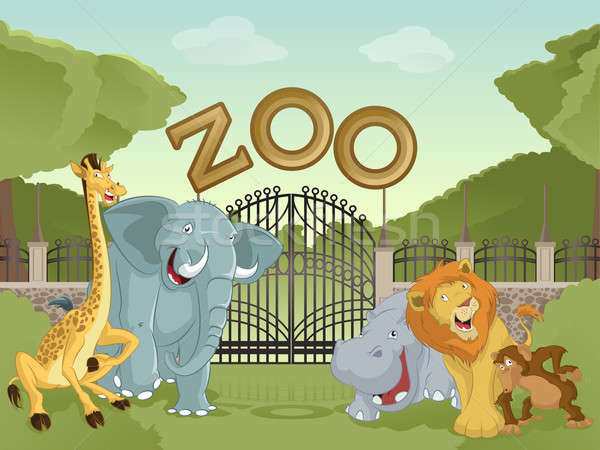 Zoo with african animals Stock photo © Amplion