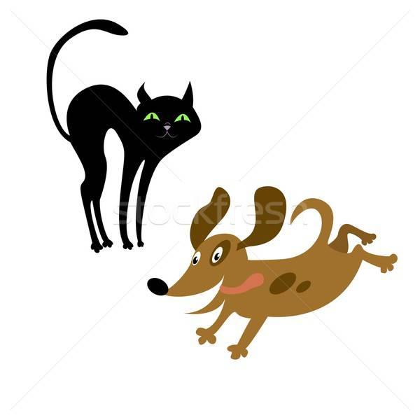 кошки собака искусства весело молодые рисунок Сток-фото © Amplion