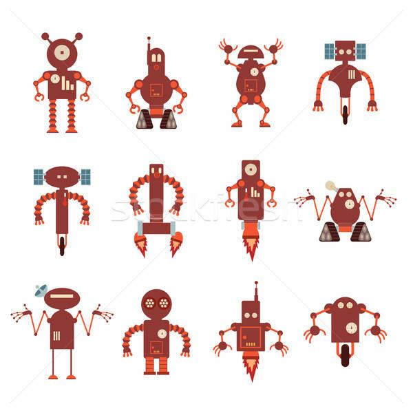 коллекция красный робота иконки вектора изображение Сток-фото © Amplion