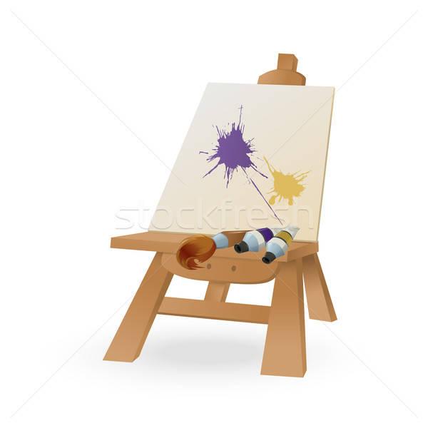 мольберт вектора изображение щетка краской бумаги Сток-фото © Amplion