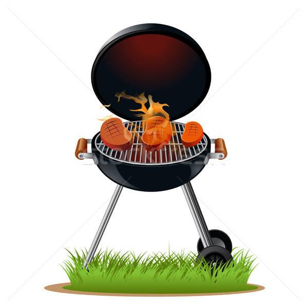 バーベキュー 肉 ベクトル 画像 火災 食品 ストックフォト © Amplion