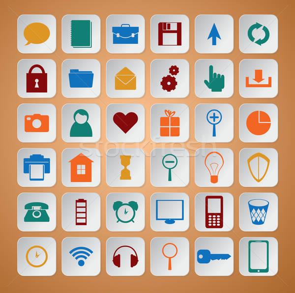 цвета иконки компьютер телефон интернет сердце Сток-фото © Amplion