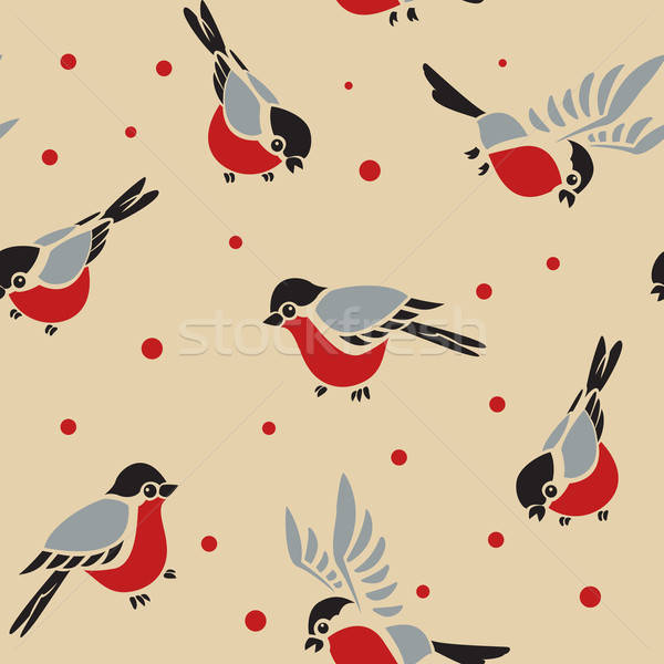 Stock photo: Bullfinches seamless pattern