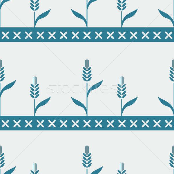 シームレス 青 パターン 小麦 ベクトル 画像 ストックフォト © Amplion