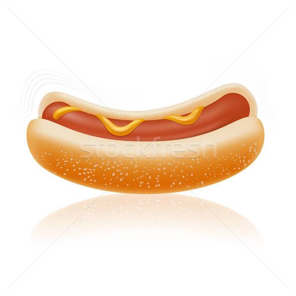 Hotdog vector afbeelding hot realistisch ontwerp Stockfoto © Amplion