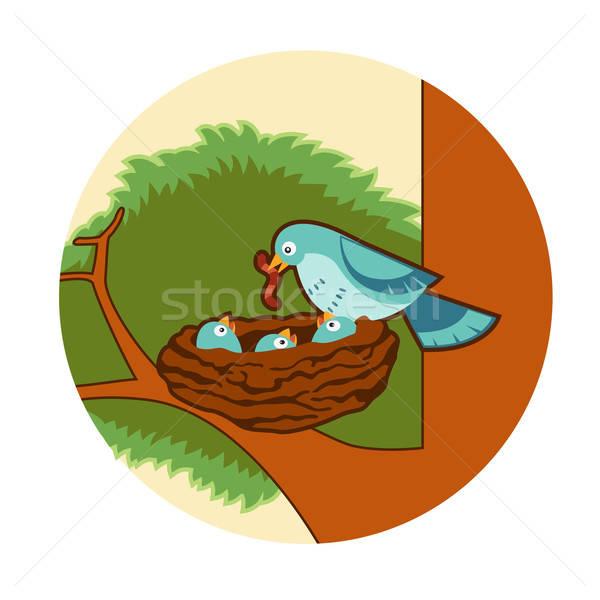 птиц гнезда вектора изображение синий дерево Сток-фото © Amplion