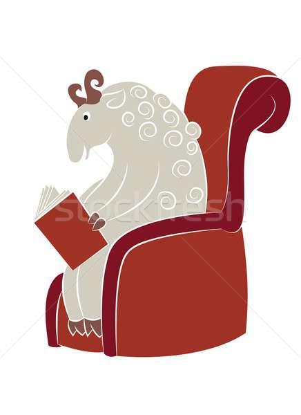Lettura pecore vettore immagine seduta libro Foto d'archivio © Amplion