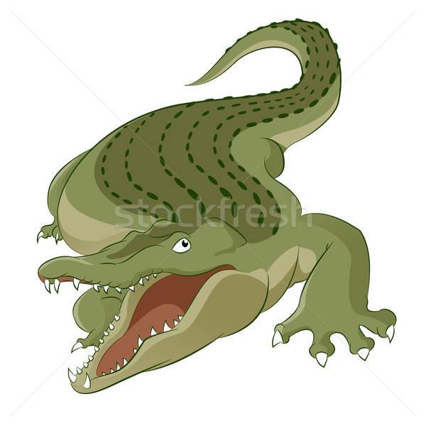 Crocodilo vetor imagem desenho animado faminto grande Foto stock © Amplion