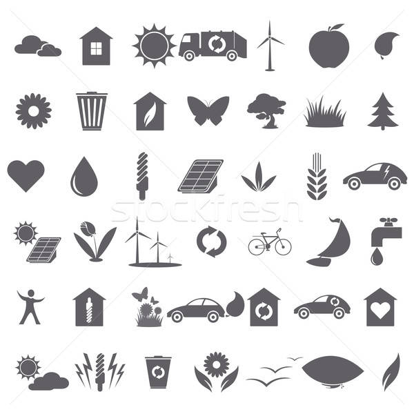 Collection of ecological icons Stock photo © Amplion