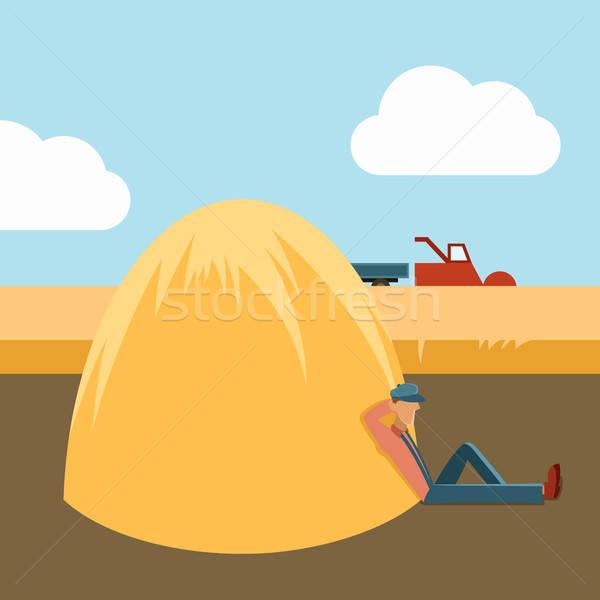 ベクトル 画像 怠惰な 男 収穫 太陽 ストックフォト © Amplion