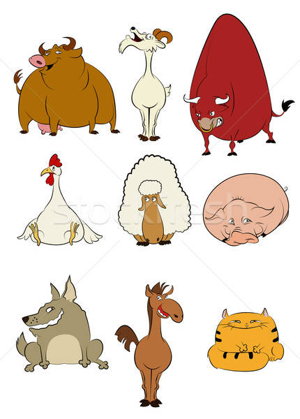 Domestic cartoon animals Stock photo © Amplion