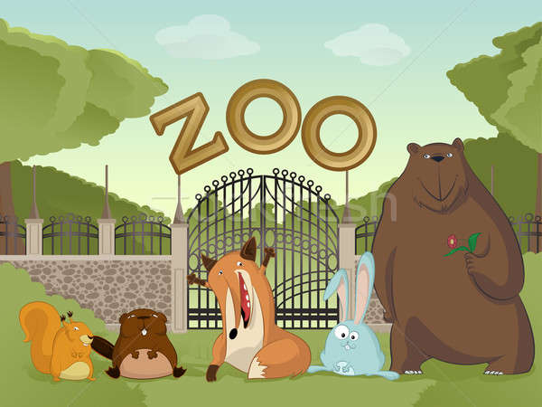 Zoo with forest animals Stock photo © Amplion