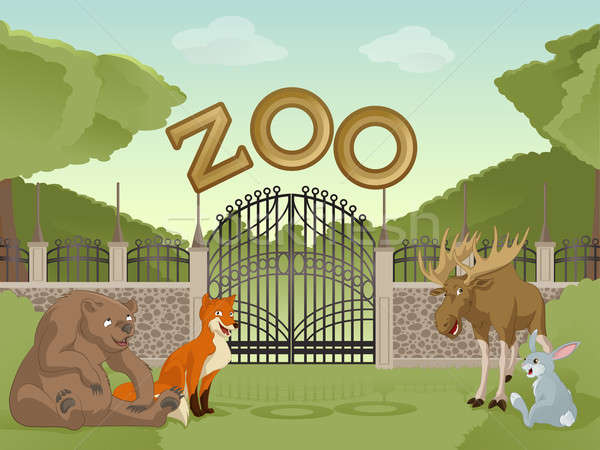 Zoo with cartoon animals Stock photo © Amplion