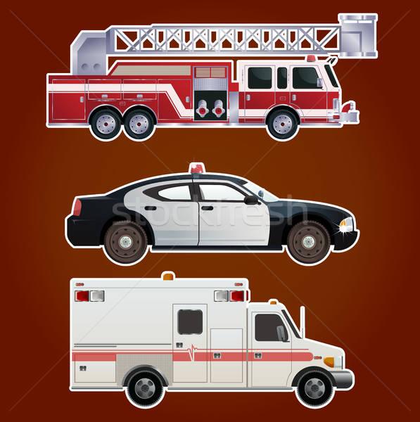 Stock fotó: Gyűjtemény · vészhelyzet · autók · vektor · kép · ikonok