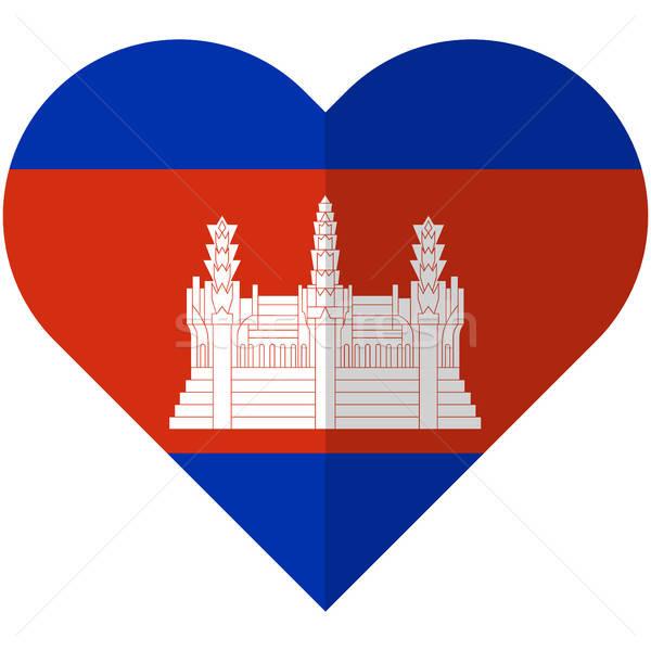 Camboja coração bandeira vetor imagem projeto Foto stock © Amplion