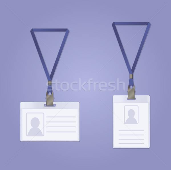 Személyi igazolvány kitűző vektor kép pár számítógép Stock fotó © Amplion