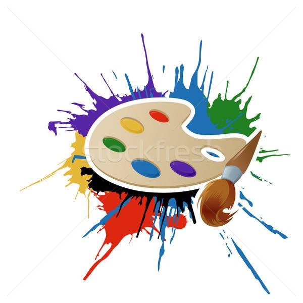 Peinture palette brosse vecteur image construction Photo stock © Amplion