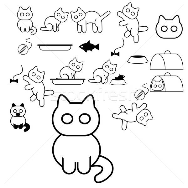 Cat icons Stock photo © Amplion