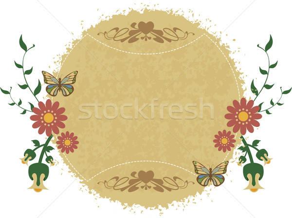 Frame uitnodiging ornamenten papier bloemen Stockfoto © anaklea