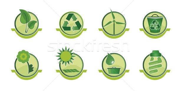 Ingesteld iconen sociale kwesties recycling duurzaam Stockfoto © anaklea