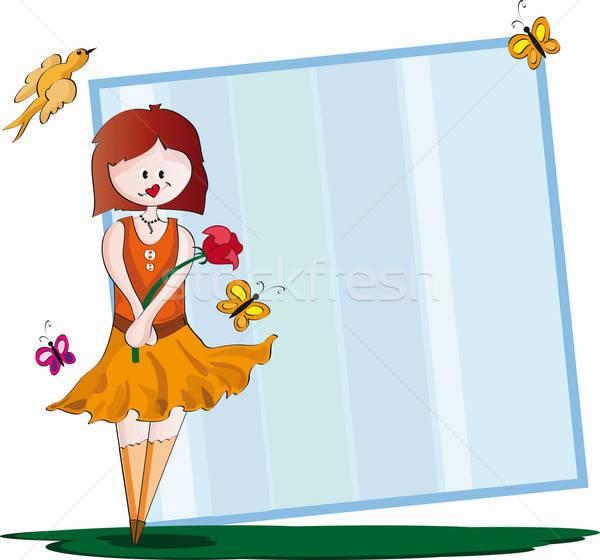 Frame meisje bloem vlinders Stockfoto © anaklea