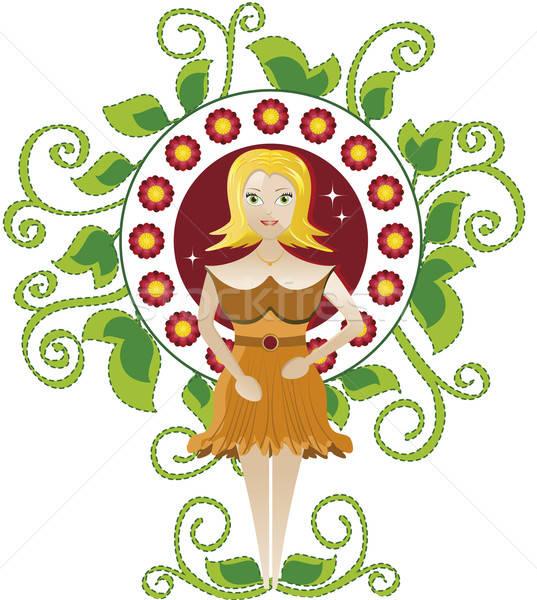 Vrouwen blonde vrouw bloemen frame groene Stockfoto © anaklea