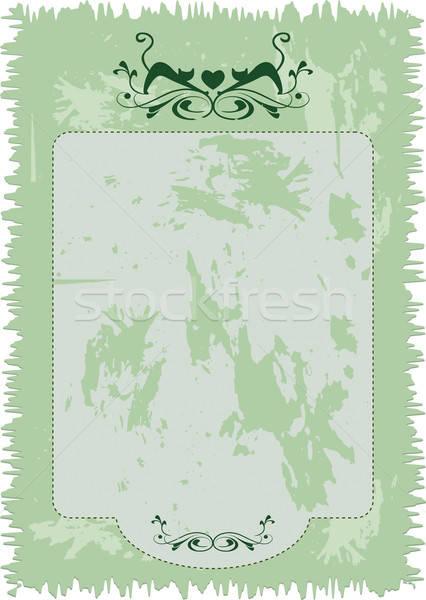 Papier uitnodiging kitten ornament ornamenten Stockfoto © anaklea