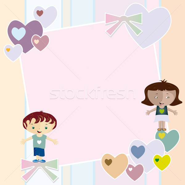 Frame harten kinderen ingericht bogen twee Stockfoto © anaklea