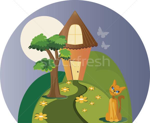 Huis kat land bomen bergen katten Stockfoto © anaklea