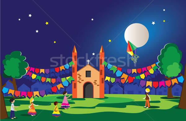 Partij Brazilië typisch festival hemel boom Stockfoto © anaklea