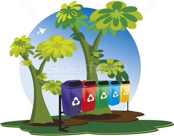Vuilnis collectie recycling blauwe hemel bomen vogel Stockfoto © anaklea
