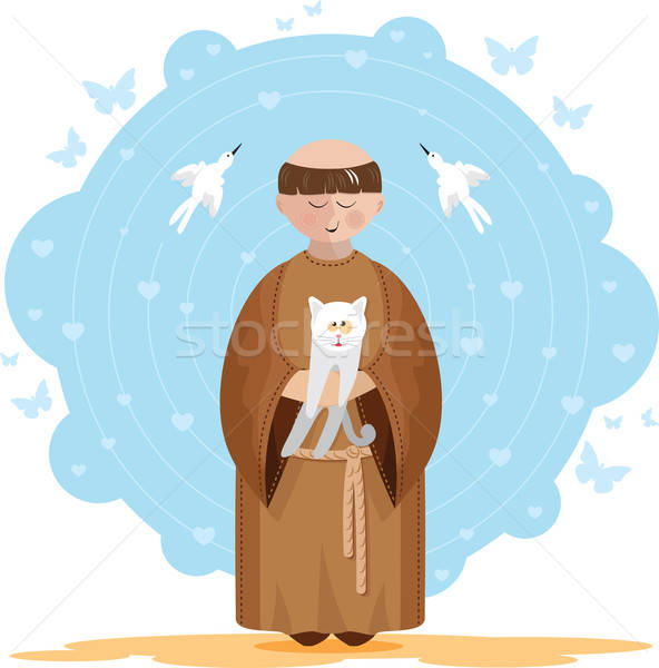 Stock photo: St. Francis of Assisi with kitten