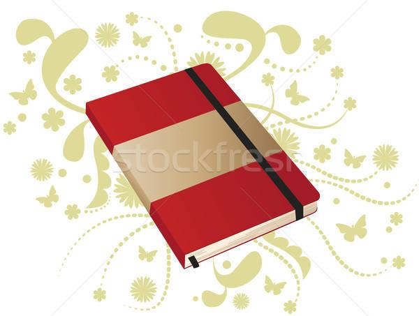 Rood boek merkt notebook elastisch ornamenten Stockfoto © anaklea