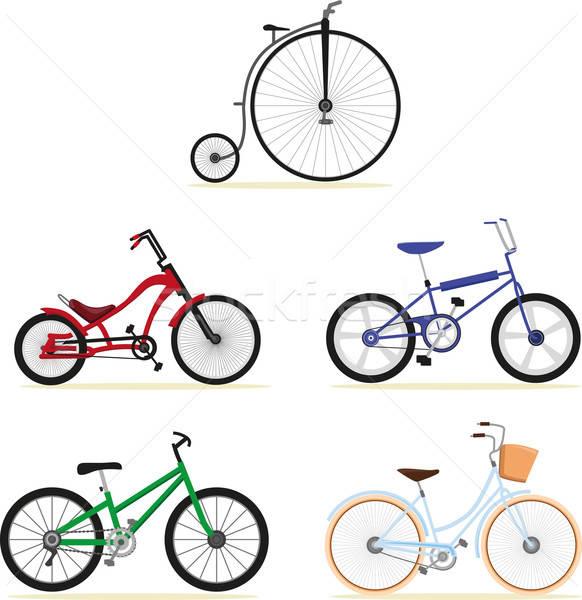 Fiets vijf verschillend modellen fietsen Stockfoto © anaklea
