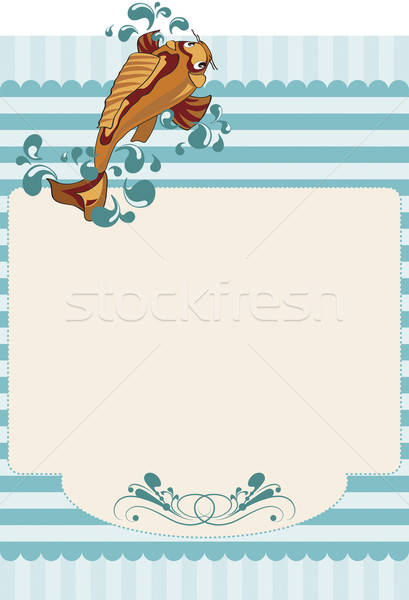 Paper invitation with stripes and a carp. Stock photo © anaklea