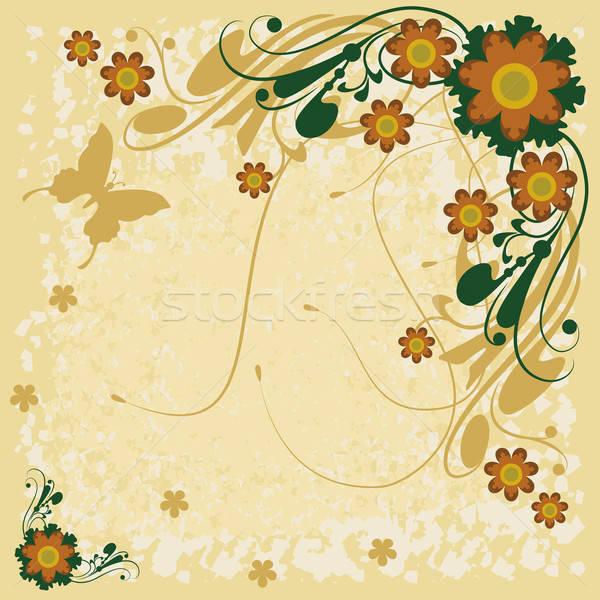 Bloemen vlinders ornamenten groene vlinder Stockfoto © anaklea