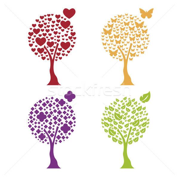 Bomen vier communie hart vlinder bloem Stockfoto © anaklea