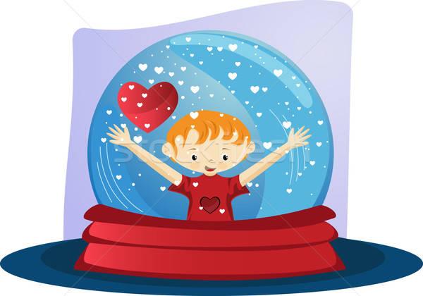 Valentijnsdag glas wereldbol jongen sneeuw Stockfoto © anaklea