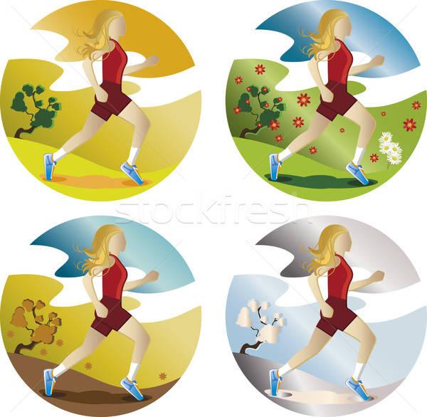Kobieta uruchomiony cztery pory roku długo blond włosy Zdjęcia stock © anaklea