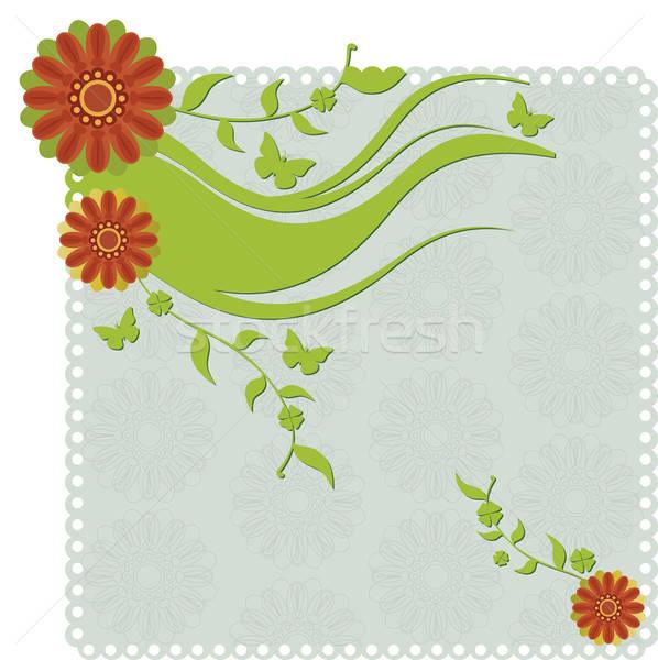Papier uitnodiging bloemen vlinders Stockfoto © anaklea
