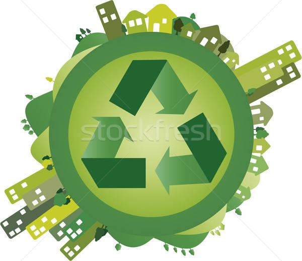 Groene wereld wereldbol steden platteland centrum Stockfoto © anaklea