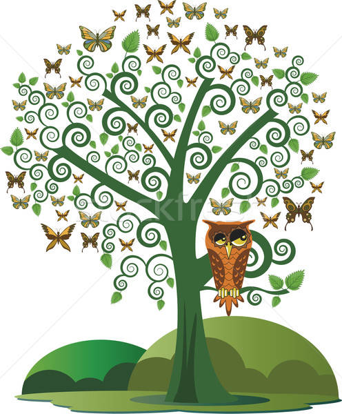 Owl in the tree and butterflies Stock photo © anaklea