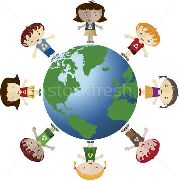 Wereldbol kinderen verscheidene recycleren symbool Stockfoto © anaklea