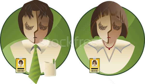 Personeel twee mensen badges vervelen jobs Stockfoto © anaklea
